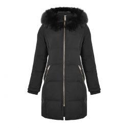 abrigo a colchado negro con capucha de diseño