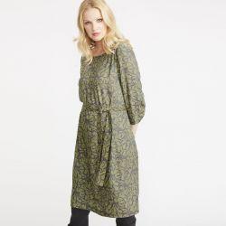 vestido verde de diseño drapeado