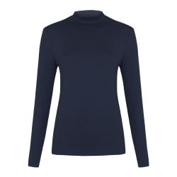 jersey de cuello vuelto azul marino
