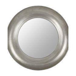 espejo redondo plateado de diseño