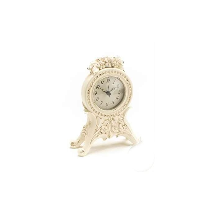 reloj crema con decoración floral