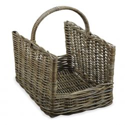 cesta natural decorativa para leña de diseño