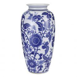gran jarrón de porcelana china azul