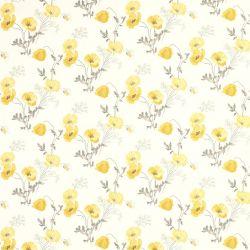 papel pintado de flores amarillo Poppy Meadow, de Laura Ashley