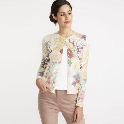 chaqueta floral de cuello redondo