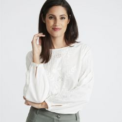 blusa panel bordado blanco