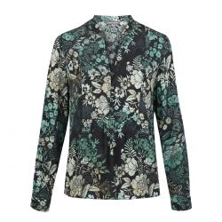 blusa negra de flores Laura Ashley