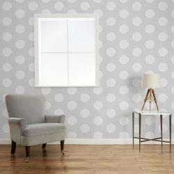 papel pintado de círculos adamascado en gris acero, de Laura Ashley