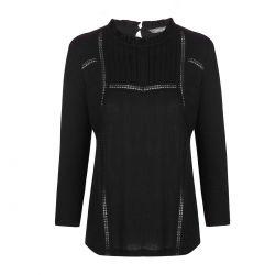 blusa negra con vainica Laura Ashley