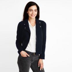 chaqueta de lana biker azul marino, Laura Ashley