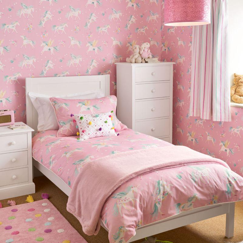 Conjunto de funda n dica unicornios rosa laura ashley for Cama unicornio