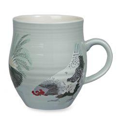 taza azul con gallo estampado