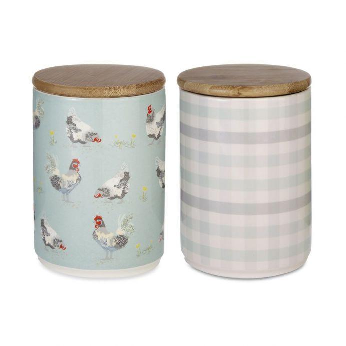 2 botes de cerámica gallinas y cuadros con tapa