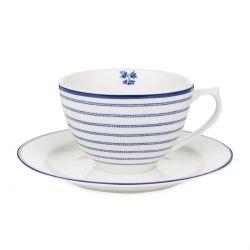 taza y plato rayas azul