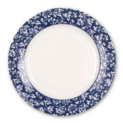 plato de postre con azul con flores