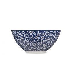 cuenco azul de flores