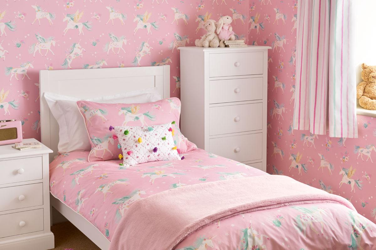 Habitación para niñas unicornios rosas