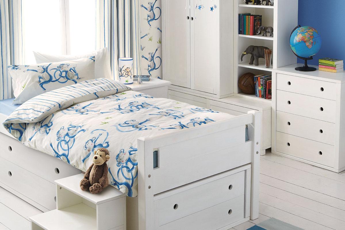 Habitación de monos azul para niño