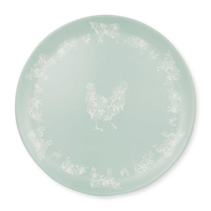 bandeja de melamina azul con gallo