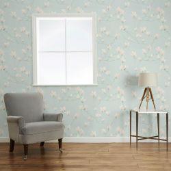 papel pintado de flores azul verdoso y rosa