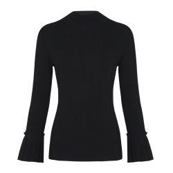jersey negro cuello funnel y manga con volante