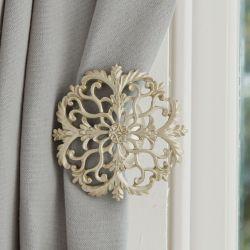alzapaños para sujetar cortinas acabado champán de diseño