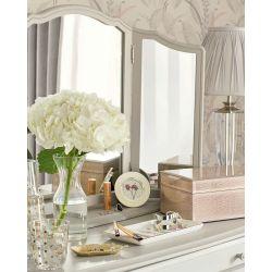 espejo de tocador triple en marfil de diseño