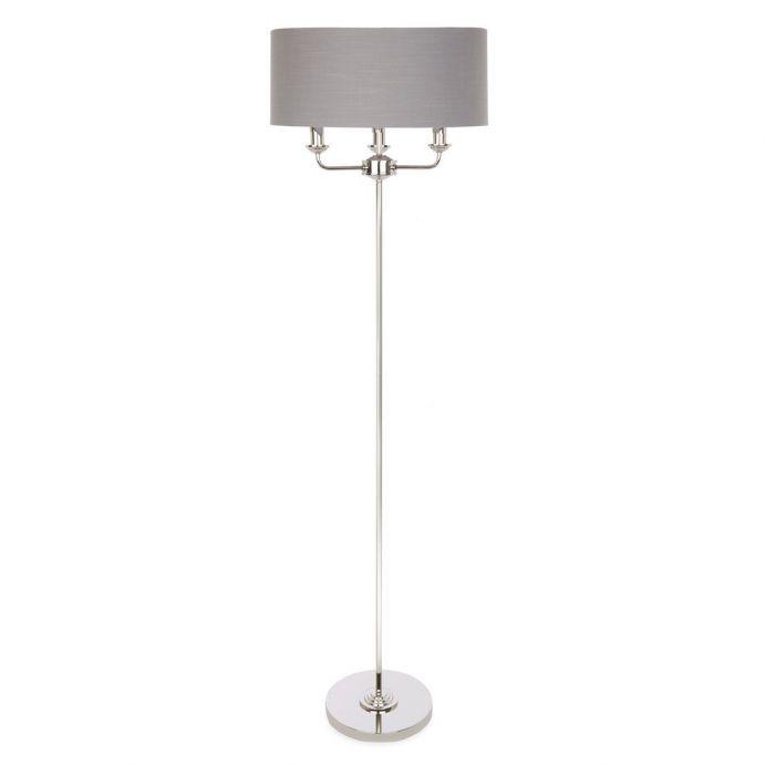 lámpara de suelo de diseño en níquel y pantalla gris carbón