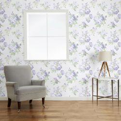 papel pintado Violetta plata / blanco