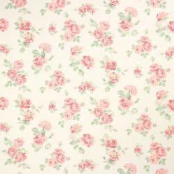 tela estampada de rosas sobre fondo blanco de diseño