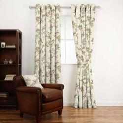 tela de pájaros y flores para cortinas y estores natural