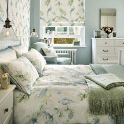 ropa de cama de pájaros en azul verdoso de diseño