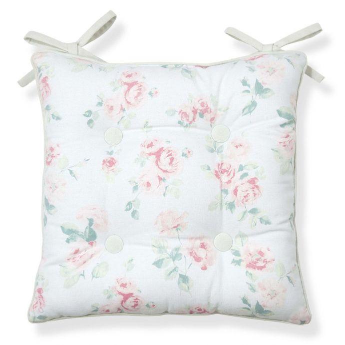 cojín para silla de flores rosas y verdes de diseño