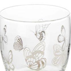 vaso de cristal con mariposas de diseño