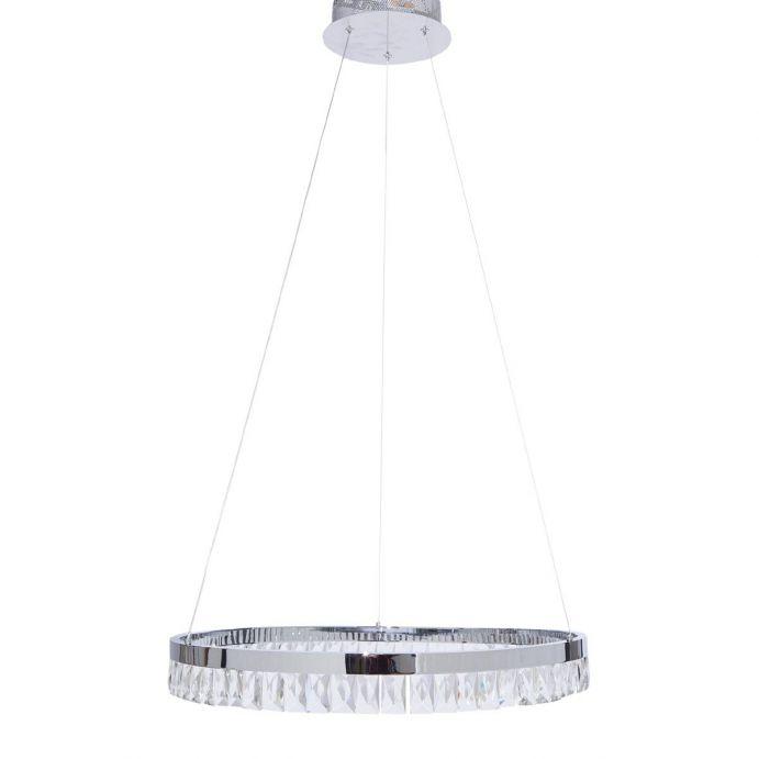lámpara de techo con forma de aro de cristal LED de diseño