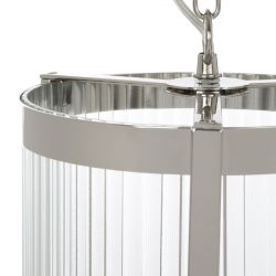 lámpara de cristal estriado y níquel con diseño vintage