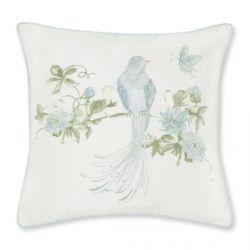 cojín con pájaro bordado en azul verdoso de diseño