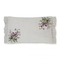 cojín con bordado de flores y volante en violeta de diseño