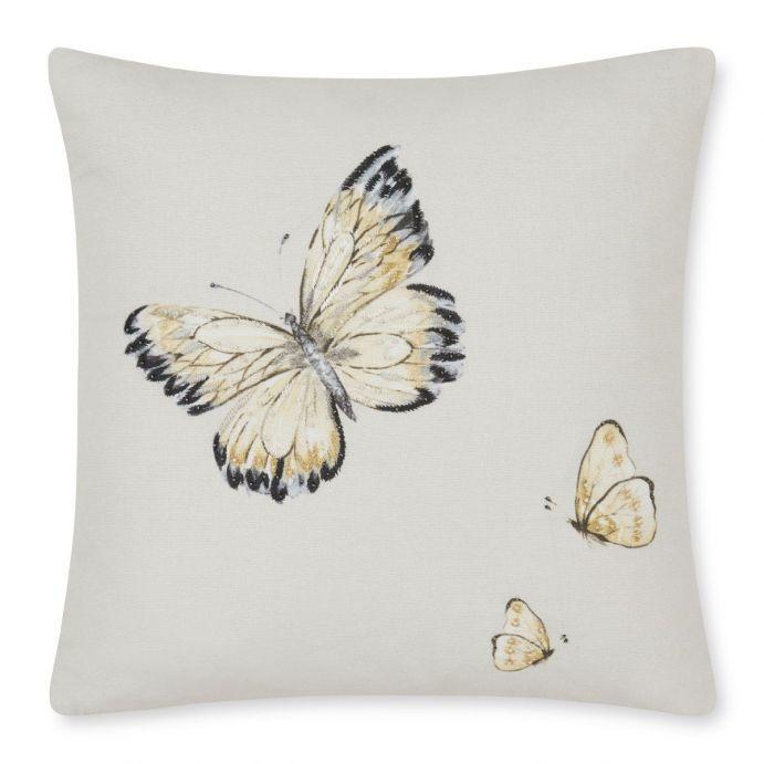 cojín estampado con mariposas amarillas de diseño