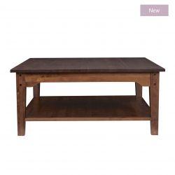 mesa de café cuadrada de madera clara de diseño