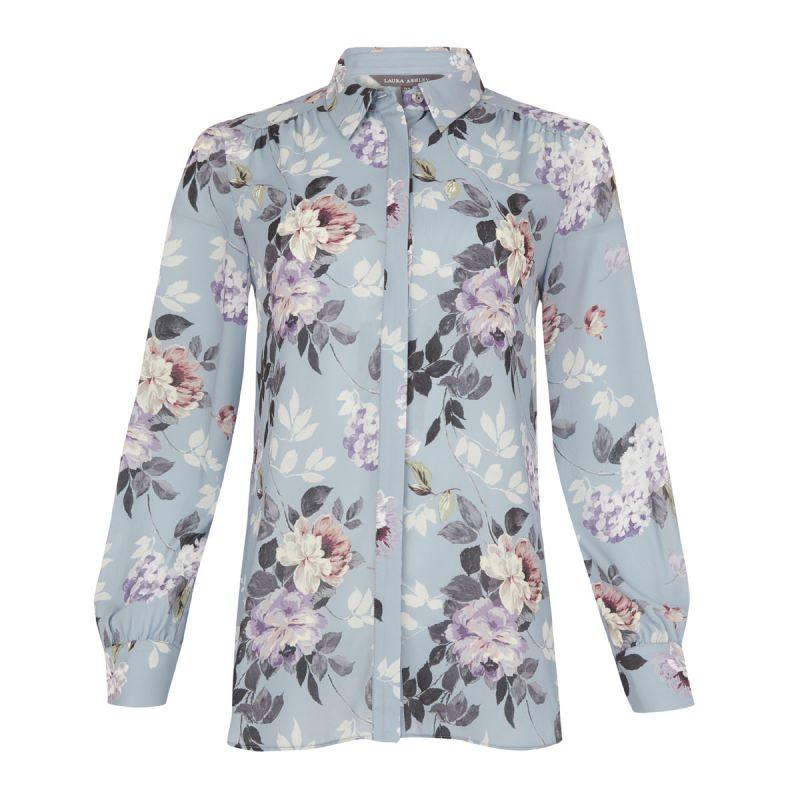 16c933f9b blusa azul estampada de flores para lucir en verano con estilo ...
