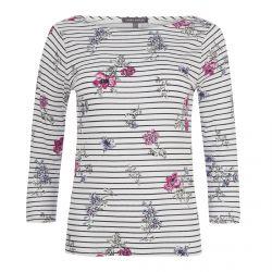 camiseta de rayas y flores ideal para verano con estilo