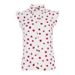 camisa blanca sin mangas y volante de flores rojas muy veraniega