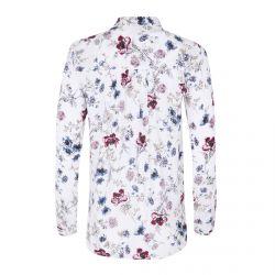blusa blanca estampada de flores rosas y azules ideal para verano
