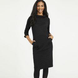 vestido negro little black dress con topos muy elegante