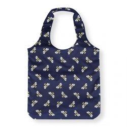bolsa plegable azul con abejitas ideal para llevar en el bolso