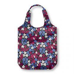 bolsa plegable ideal para llevar en el bolso, negra con flores azules y rojas