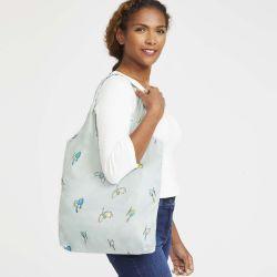 bolsa de tela plegable ideal para llevar en el bolso blanca con pájaros