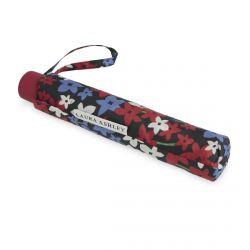 paraguas plegable compacto negro con flores rojas y azules