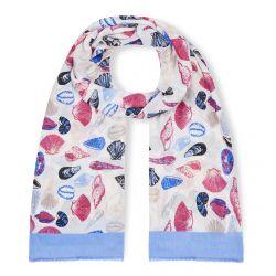pañuelo de conchas azules y rojas muy veraniego